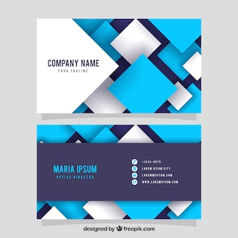 Business card with blue and white squares