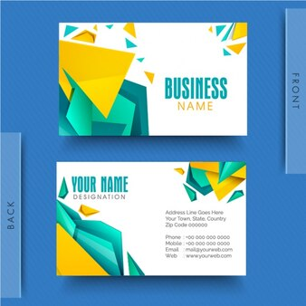 Business card with blue and yellow polygons