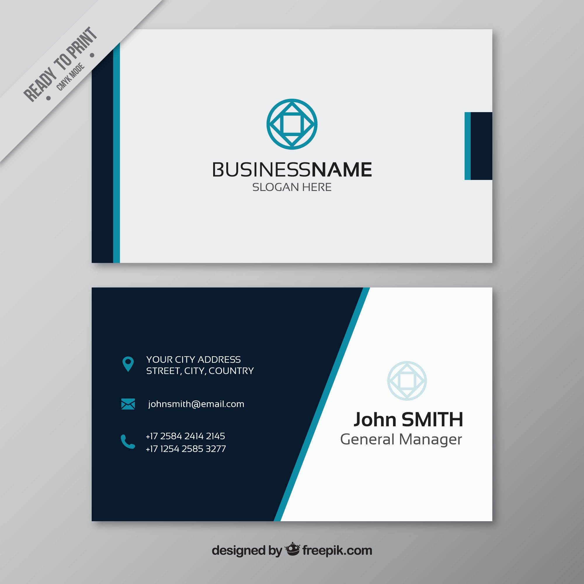 Business card with blue elements