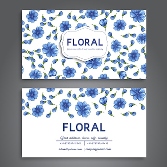Business card with blue flowers