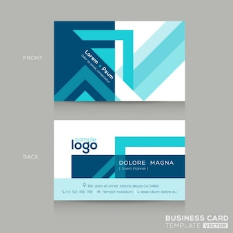 Business card with blue geometric shapes