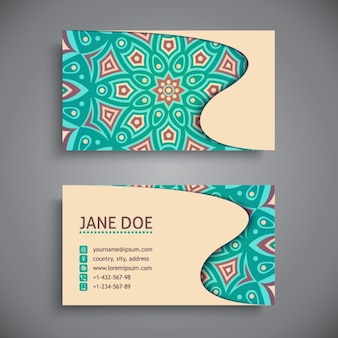 Business card with blue mosaic