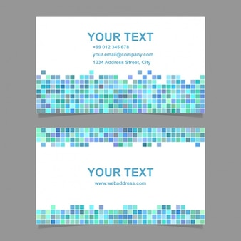 Business card with blue pixelated shapes