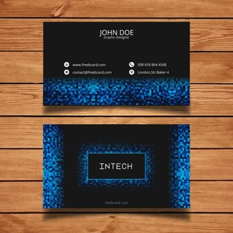 Business card with blue pixels