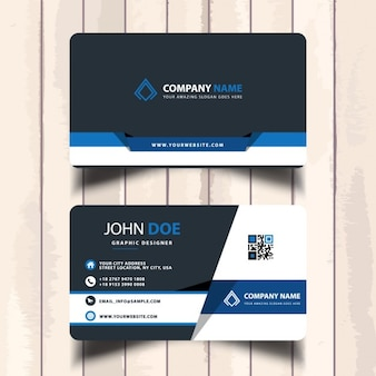 Business card with blue shapes