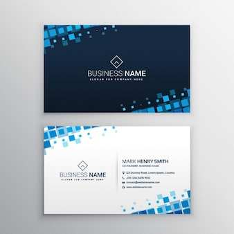 Business card with blue squares