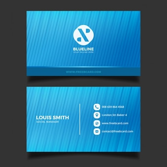 Business card with blue stripes