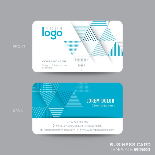 Business card with blue triangles