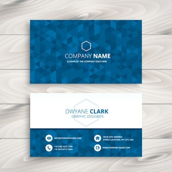 Business card with blue triangular pattern