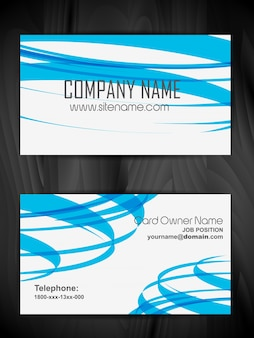 Business card with blue wavy shapes