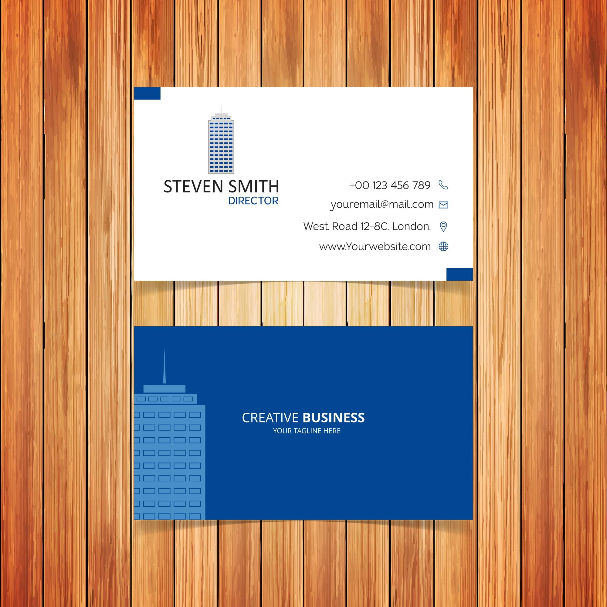 Business card with building