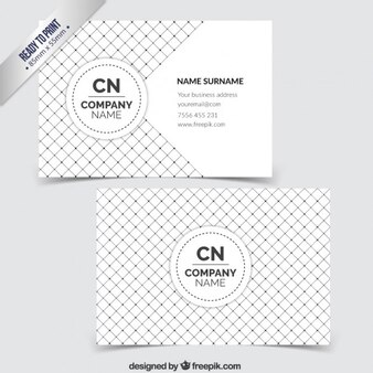 Business card with checkered pattern