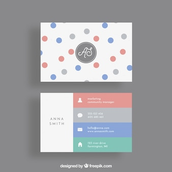 Business card with circles and colorful stripes