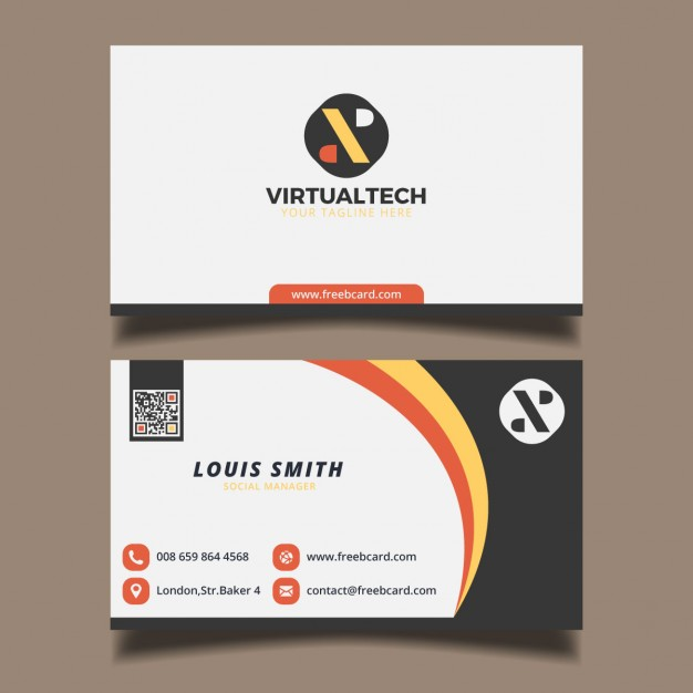 Business card with circular elements