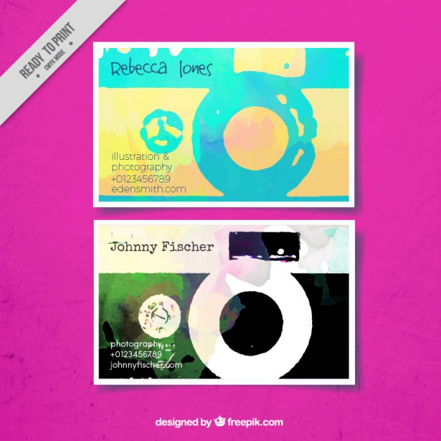Business card with circular shapes, watercolor style