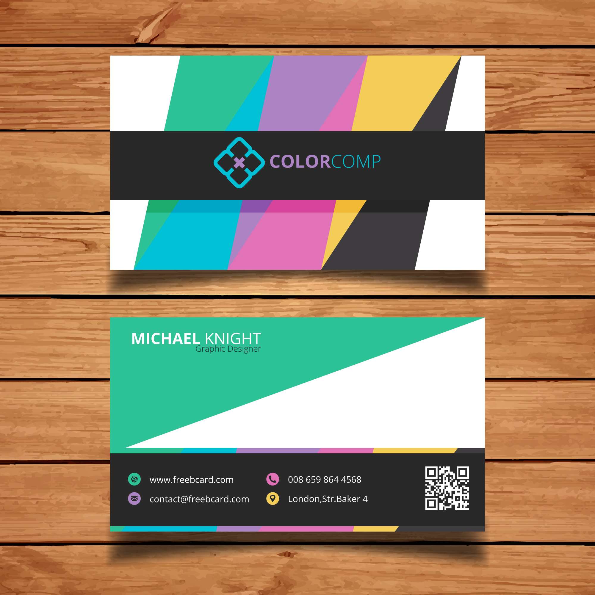 Business card with colored bars