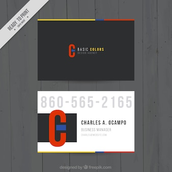 Business card with colored details