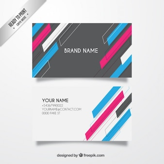 Business card with colorful stripes