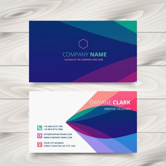 Business card with colorful waves