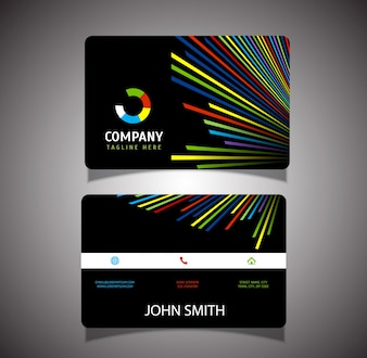 Business card with coloured lines design