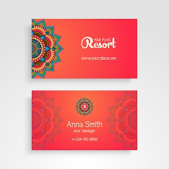 Business card with decorative mandala elements