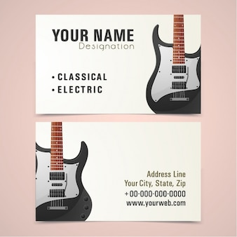 Business card with electric guitar