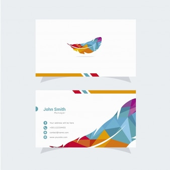 Business card with feather design