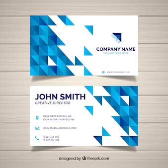 Business card with flat triangles