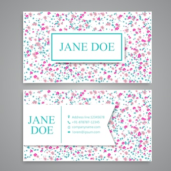 Business card with floral pattern