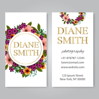 Business card with floral wreath
