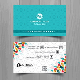Business card with full color triangles