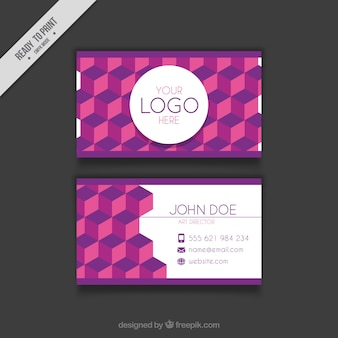 Business card with geometric forms in purple tones