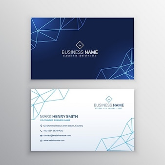 Business card with geometric lines