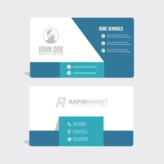 Business card with geometric shapes, blue color