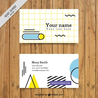 Business card with geometric shapes in 80s style