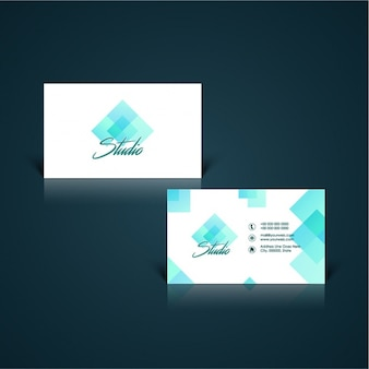 Business card with geometric shapes in blue tones