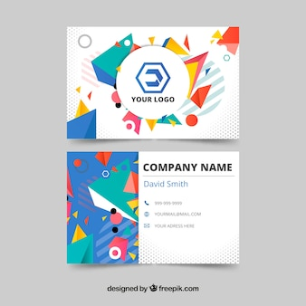 Business card with geometric shapes