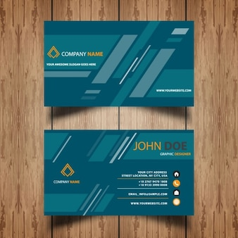 Business card with geometric stripes