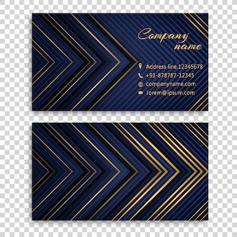 Business card with golden and blue stripes