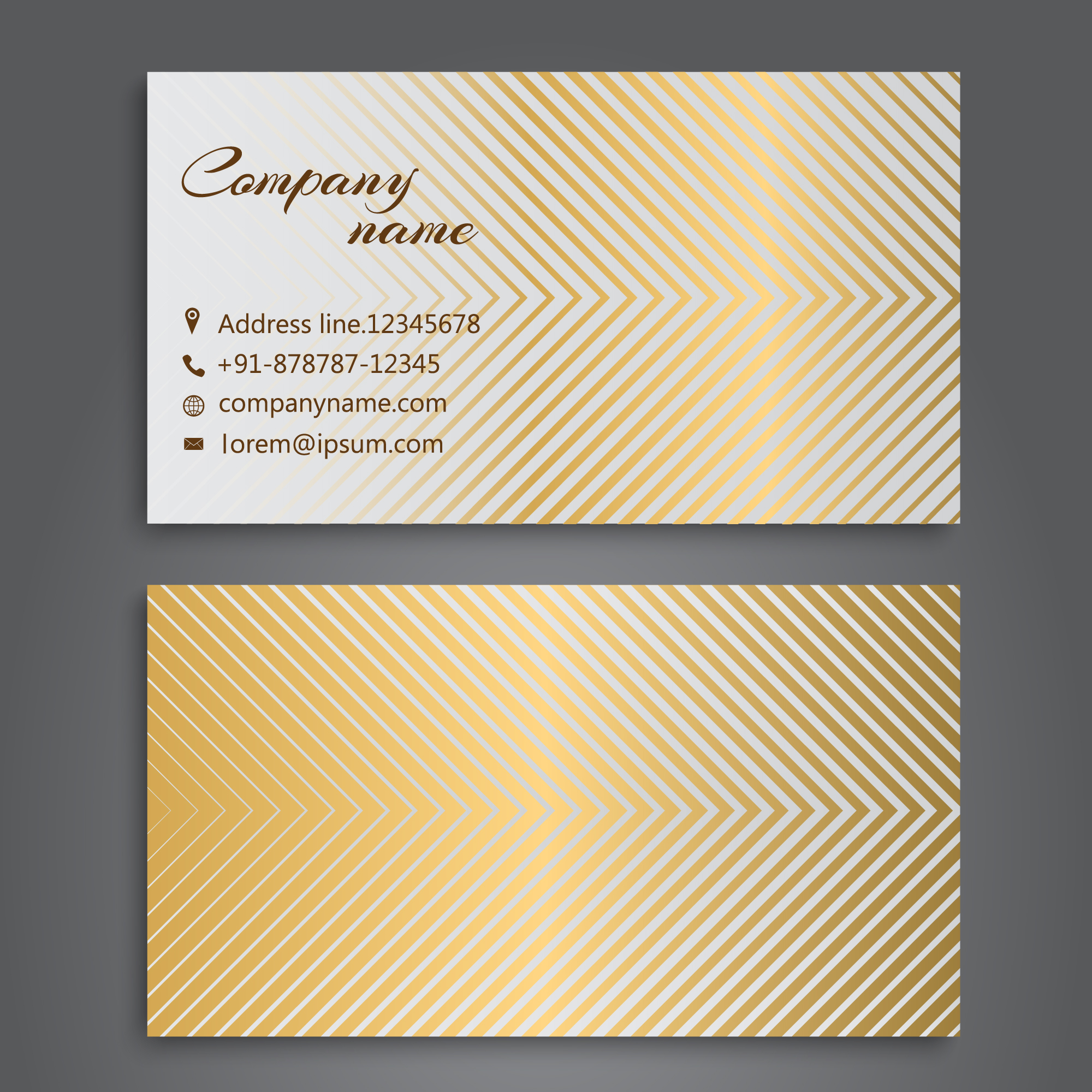 Business card with golden design