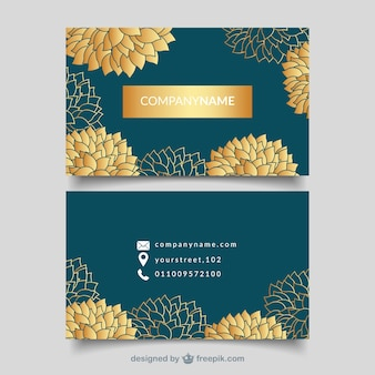 Business card with golden flowers