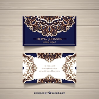 Business card with golden mandalas