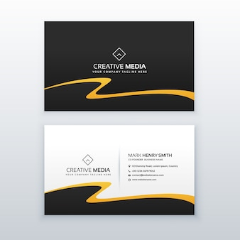 Business card with golden wave