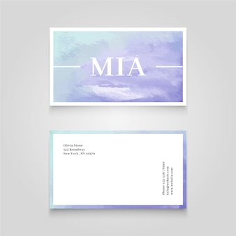 Business card with gradient watercolor