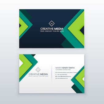 Business card with green abstract shapes