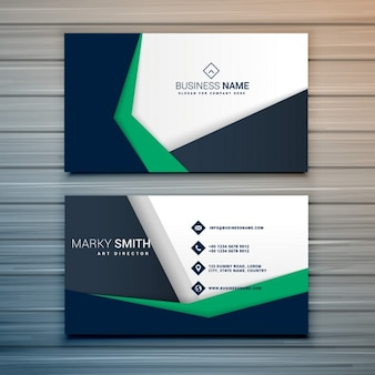 Business card with green and black shapes