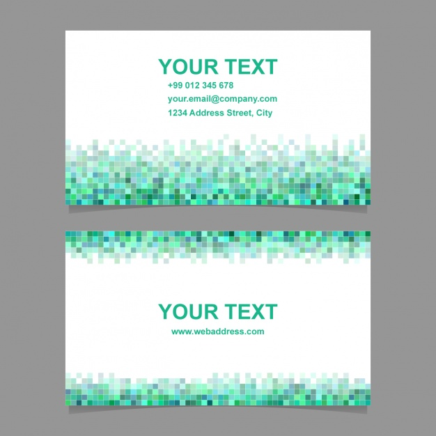 Business card with green and blue pixelated shapes