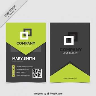 Business card with green geometric shapes