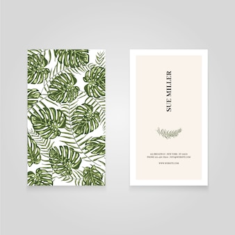 Business card with green leaves