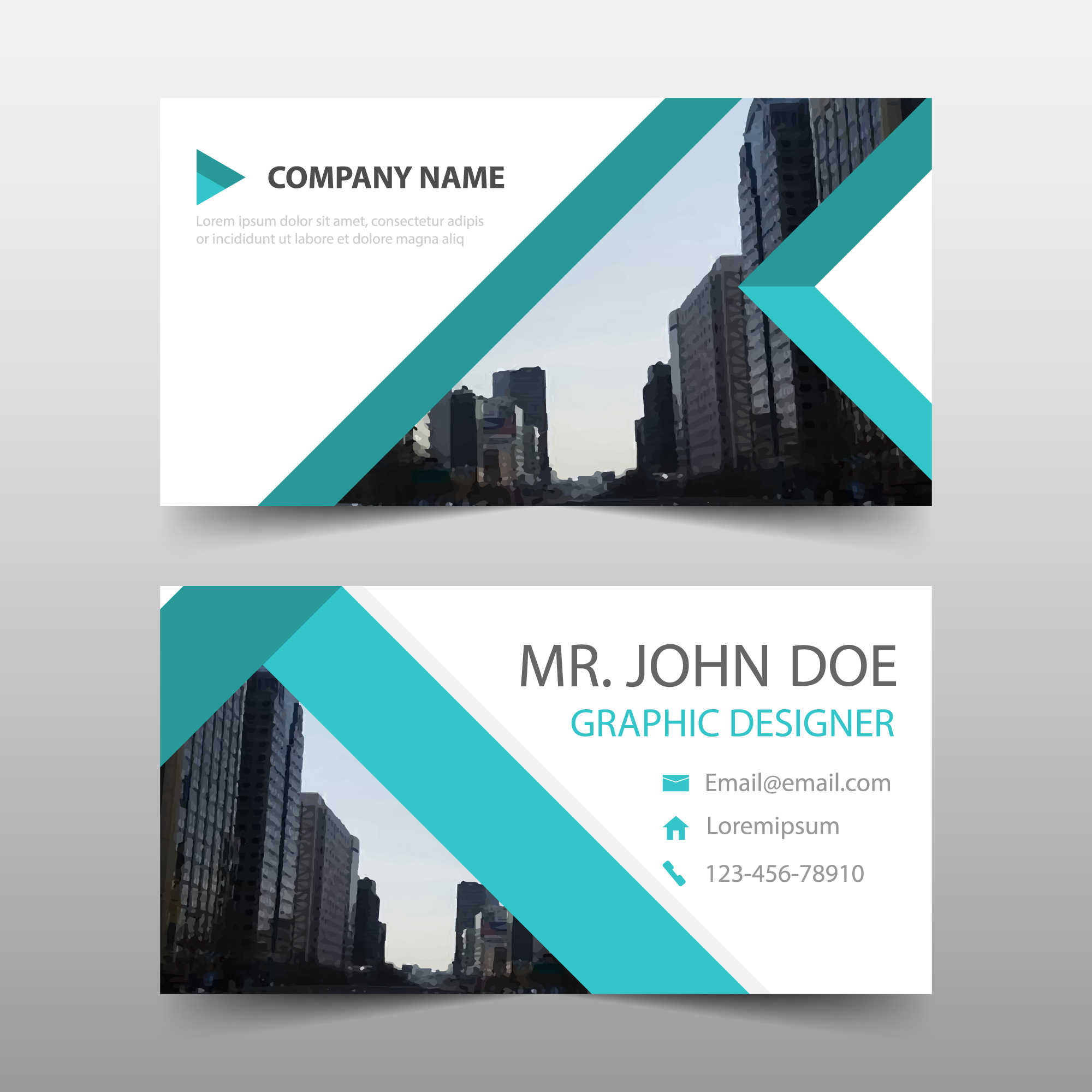 Business card with green stripes